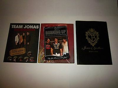 3-Jonas Brothers Burning Up Book,Tour 2008 Book Program & Team Jonas Scrapbook