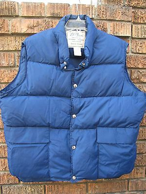 vtg 60s LL Bean Blue goose down vest puffer puffy mens XL ski cursive label