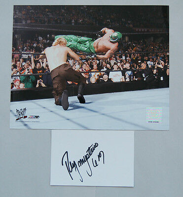 Rey Mysterio Wwe Wrestler Hand Signed Card & Photo Pack 1