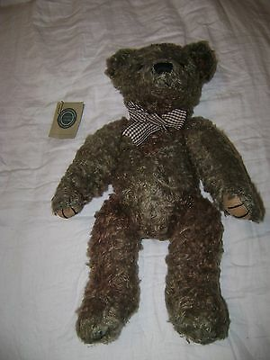 "Russ Berrie Rare Mohair Grey Brown 19"" Jointed Teddy Bear"
