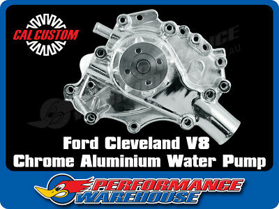 Cal Custom Ford Cleveland V8 Water Pump Chrome Aluminium