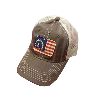 Bennington American 76 Flag Baseball Trucker Mesh Cap Hat Brown