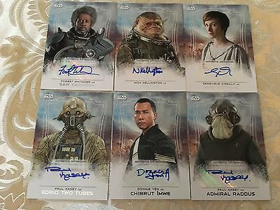 Star Wars Rogue One Series 1 Autograph Cards Set of 6, Whitaker,Yen,Mothma