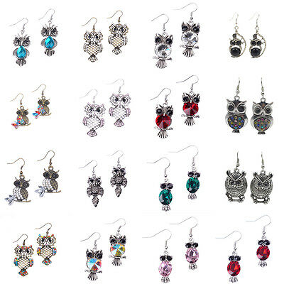 1Pair Multistyle Vintage Owl Alloy Silver Plated Crystal Antique Dangle Earrings