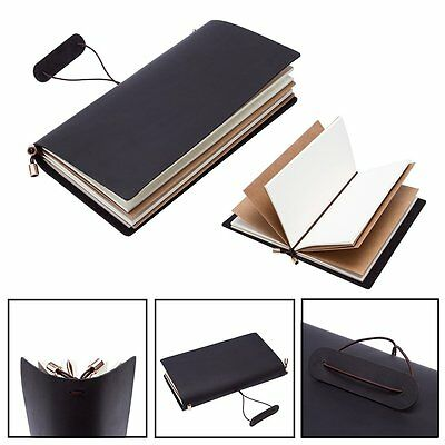 Leather Cover Handmade Bound Notebooks Writing Journal Diary Sketchbooks Black