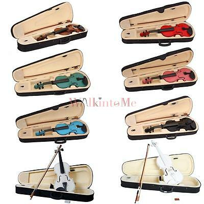 New 4/4 Size Beginner Student Acoustic Violin + Bow + Case + Rosin 8 Colors UK