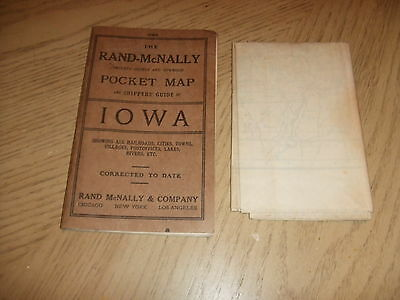 RARE 1912 Rand McNally County Township Pocket Map Shippers Guide Iowa Census '10
