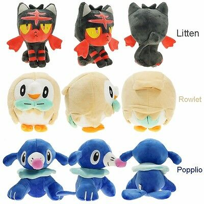 Anime Pokemon Center Rowlet Litten Popplio - Plush Doll Set Of 3 Sun Moon Toys