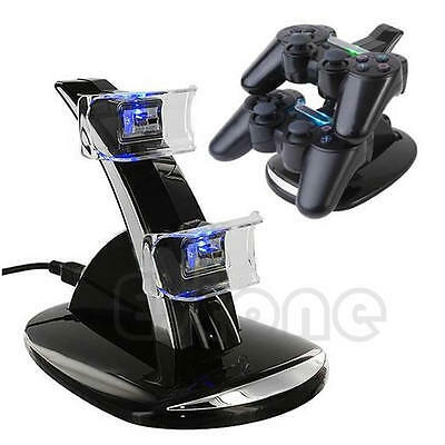 LED Dual Docking Charger Stand Station For Sony PS3 Wireless Controller Gamepad