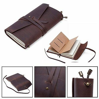 Leather Cover Handmade Bound Notebooks Journal Diary Sketchbooks Gift Book Brown