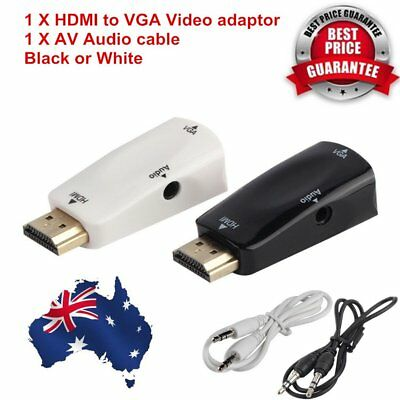 HDMI Male to VGA Female Video Adapter Cable Converter+AV Audio Cable For PC PE