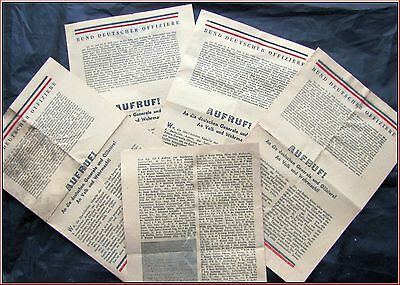 RARE WW2 AGITATION LEAFLET for GERMAN NATIONS, OFFICERS & WEHRMCHAT SOLDIERS