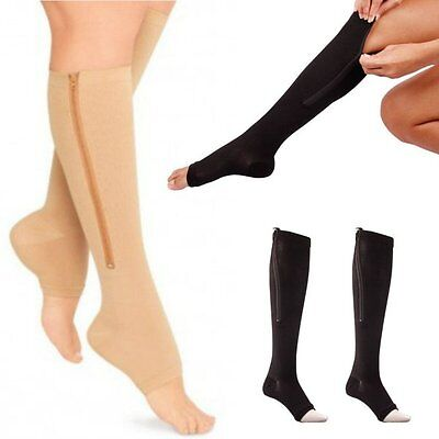 Compression Socks Zip Zipper Leg Support Knee Stockings Sox Open Toe Pain Relive