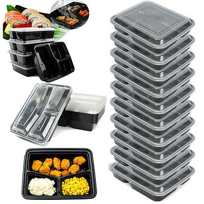 10Pcs Microwave Meal Prep Food Storage Containers Lunch Box 3 Compartments