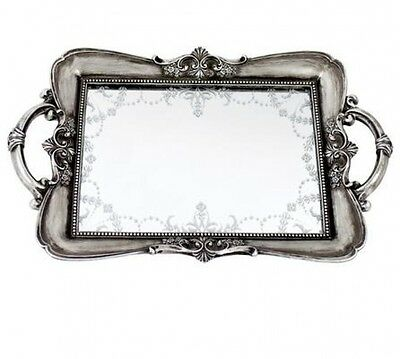 Silver Vintage Ornate Antique Shabby Chic Vintage Mirrored Trinkit Tray Rare New