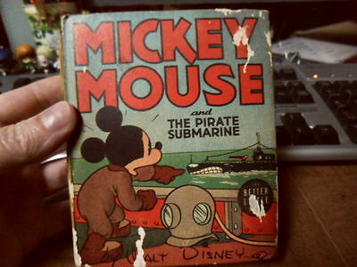 Mickey Mouse And The Pirate Submarine Big Little Book Vintage 1939