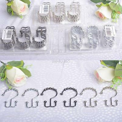 12Pcs Stainless Steel Shower Curtain Double Glide Hooks Liner Steel Bath Set Rod
