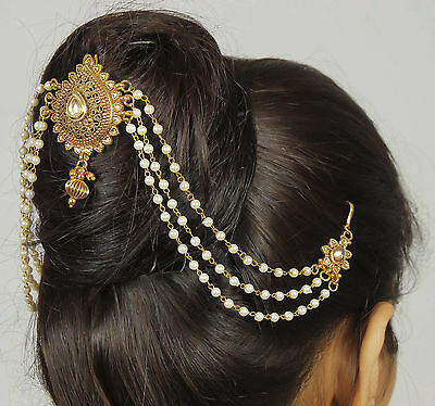 65 Wedding Bridal Goldtone New Traditional Hair Accessory Bun Pin Indian Jewelry