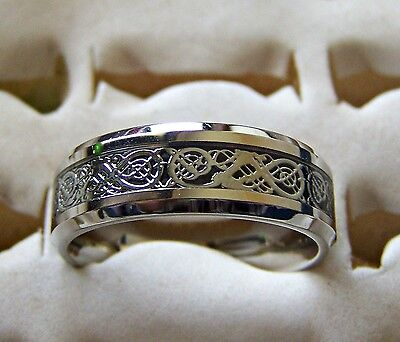 Silver ~ Celtic _ Dragon  ~ Size:8 ~ S/steel  ~ Ring -- (Great_Christmas_Gift)
