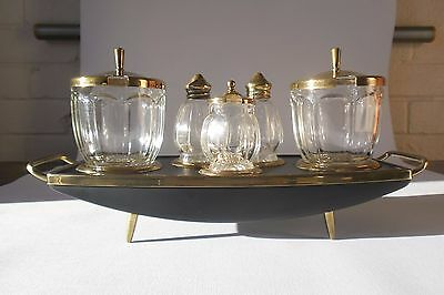 UNUSUAL VINTAGE 1940's PRE-WAR GLASS AND BRASS STYLISH CONDIMENT SET WITH STAND