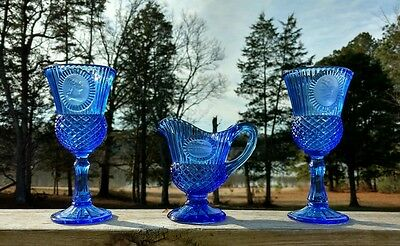 2 Blue Cobalt Fostoria Goblets & Pitcher George & Martha Washington, Mt. Vernon