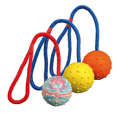 TRIXIE RUBBER BALL On Rope Fetch Dog Pet Toy Durable Natural