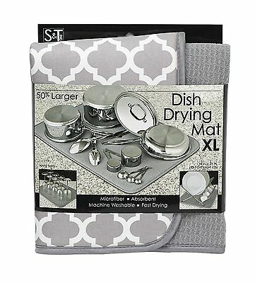 S&T 497500 Microfiber Dish Drying Mat, X-Large, 18 by 24-Inch, Grey/White