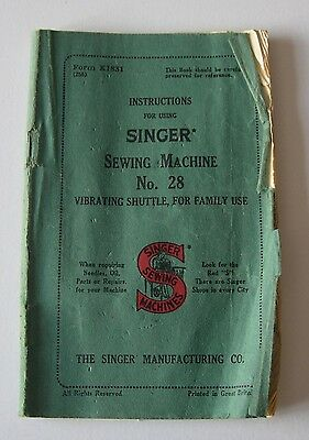 Vintage Singer Sewing Machine No. 28 Instruction Booklet