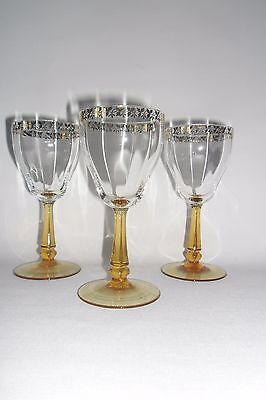 VINTAGE 1930's RIBBED GLASS AND GILDED WINE GLASSES WITH AMBER STEM SET OF 3