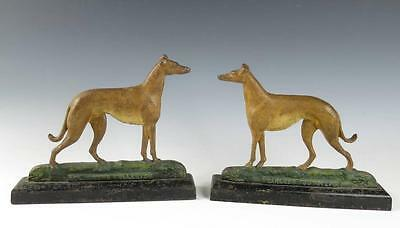 Rare Pair ANTIQUE CAST IRON CHAMPION GREYHOUND Whippet Dog Doorstop Andirons