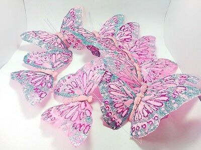 Crafts Butterfly Pink Feather Glitter Garland Curtain Home Window Decorate