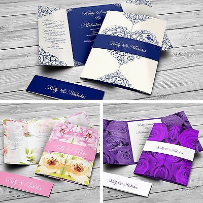Gatefold Personalised Wedding & Evening Invitations with Envelopes & Belly Band