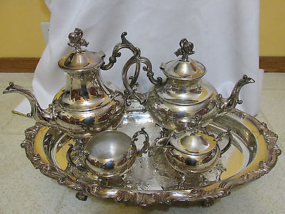 Vintage Reed & Barton Winthrop Silverplate 5pc Footed Coffee/Tea Set w/tray