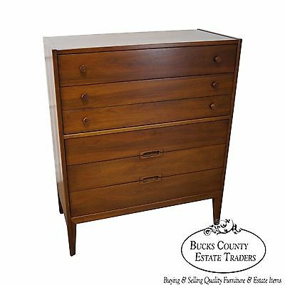 Mid Century Modern Danish Inspired Walnut Tall Chest by United