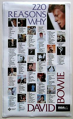 DAVID BOWIE Promotional POSTER Vintage 220 REASONS Why 1984 Promo RCA 1-4022 LOW