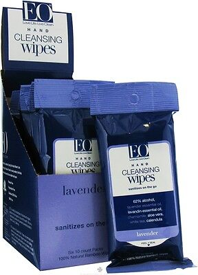 Hand Cleansing Wipes On The Go, EO Products, 10 Wipes 6 pack
