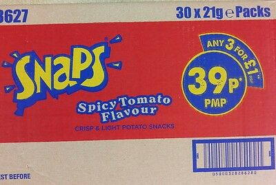 Smiths Snaps Spicy Tomato Flavour 21g X 30 packs BB 24/12/2016
