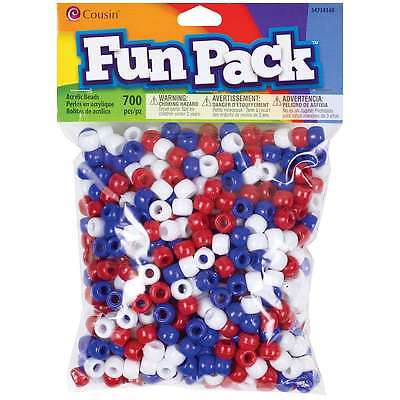 Fun Pack Pony Bead Mix 700/Pkg-Red/White/Blue 016321083141