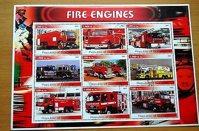 Fire Engines Somalia Republic 2002 Stamp Sheet VFU #