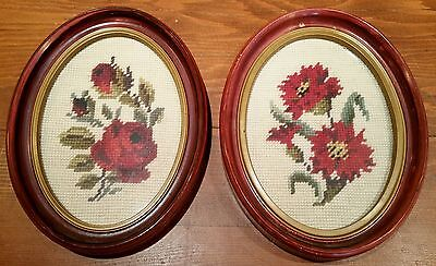 Pair of Vintage Framed Oval Cross Stitch Pictures Flowers