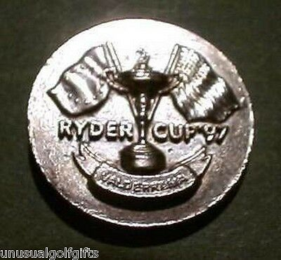 Ryder Cup 1997 Old Golf Ball Marker - Silver Embossed Stem Type