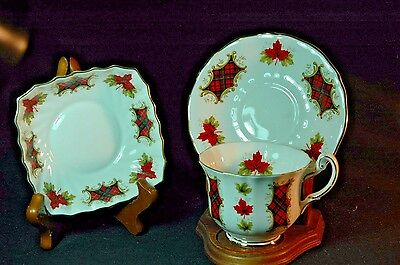 Royal Adderley Maple Leaf Tartan Cup and Saucer and Dish