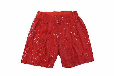 Vintage 80s Red sequin beaded silk draped high waist dress shorts M