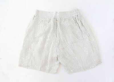 Vintage 80s White sequin beaded silk draped high waist dress shorts M