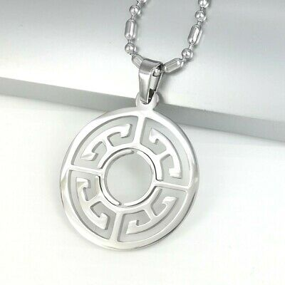 "Silver Chrome Round Circle Of Life Symbol Pendant Mens Necklace 24"" 61CM Chain"