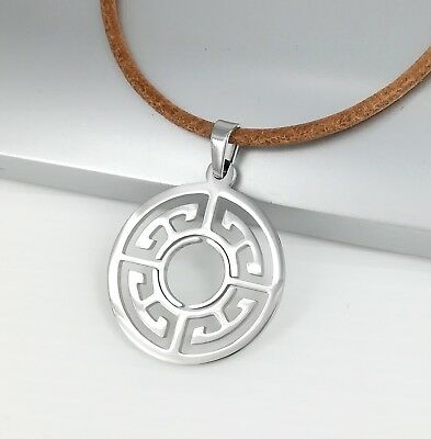 Silver Chrome Round Circle Of Life Symbol Pendant Brown Leather Ethnic Necklace