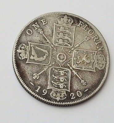 1920 - Silver - Two Shillings / Florin - Great Britain - King George V - UK Coin