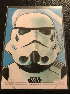 Star Wars Rogue One Series 1 Sketch Card By Carlos Cabaleiro (Stormtrooper)