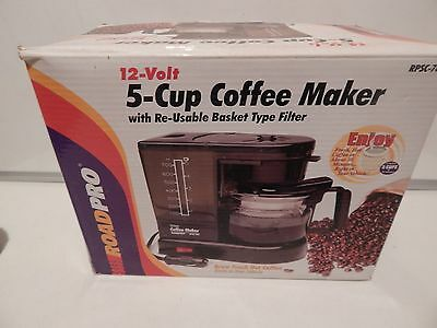 NEW ROAD PRO RPSC-783 12 Volt 5 Cup COFFEE MAKER Truck Boat Car