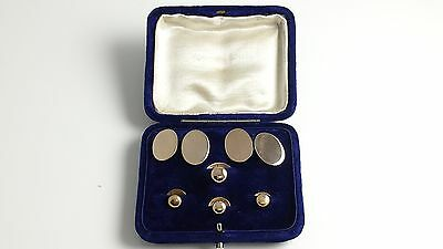 Antique Edwardian 15Ct Gold Cufflink & Shirt Stud Dress Set In Fitted Case